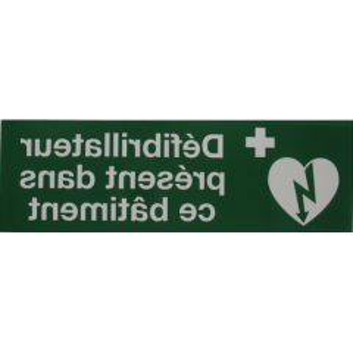 Autocollant ''Defibrillateur present dans ce bâtiment''